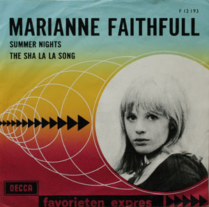 Marianne Faithfull 7 inch vinyl published by Dutch Label Favorieten Express