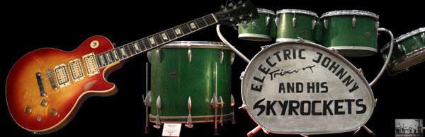 Museum RockArt presenteert vintage gitaren en drumstellen.